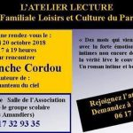 Samedi 20 octobre / Rencontre autour d'une romancière / Association Familiale Loisirs et Culture du parc des Amandiers